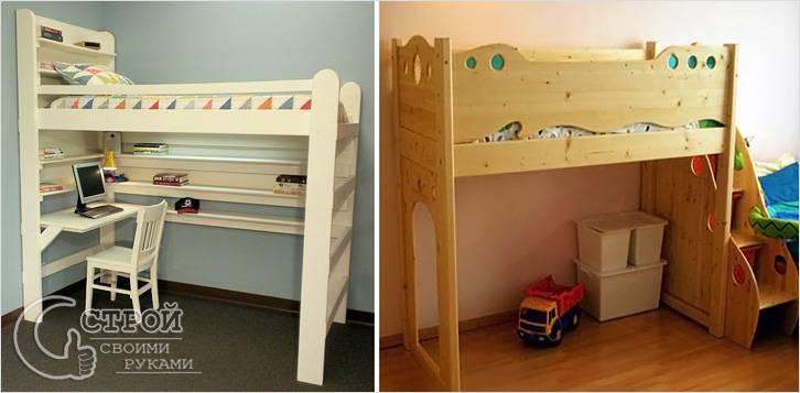 Детская кровать-чердак, опирающаяся на пол