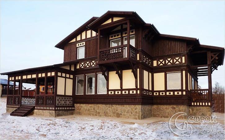 Фахверк, сочетающийся с другими видами отделки фасада