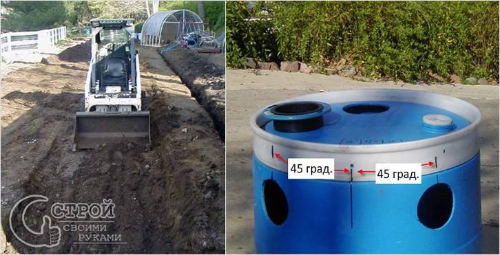 Подготовка траншеи и боковых отверстий для отводов