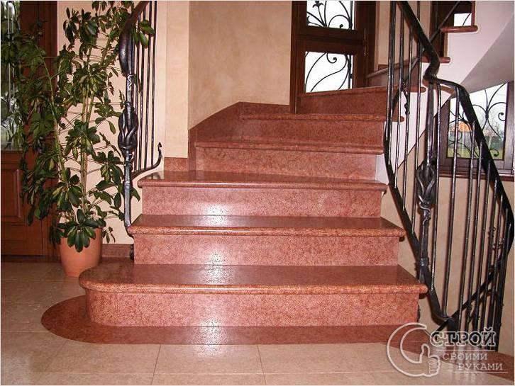 Облицованная гранитом лестница