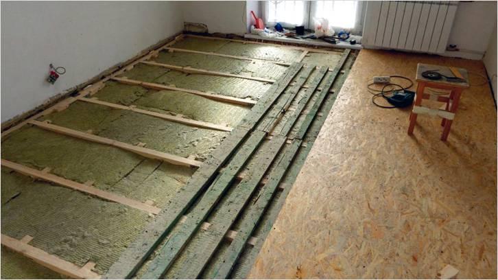 Утепление деревянного пола каркасным методом с помощью минерального утеплителя