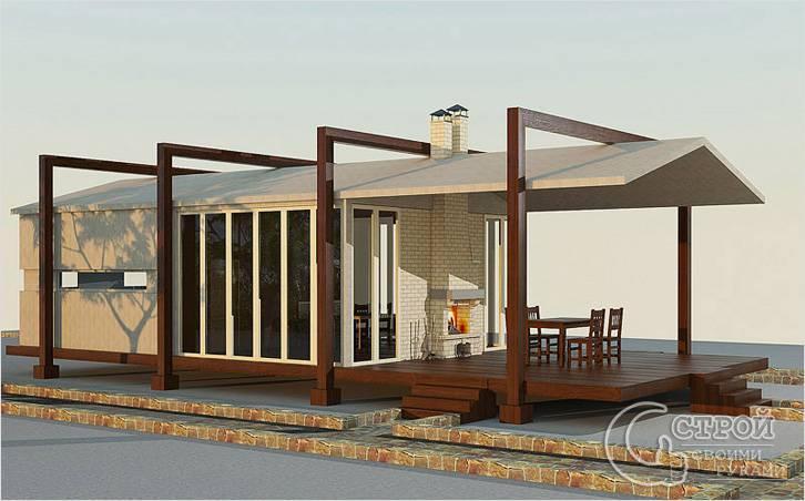 Необычный проект с деревянной террасой