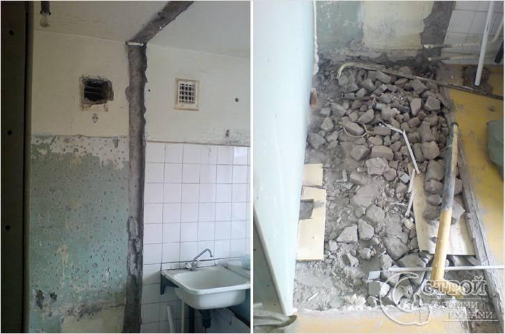 Расширение кухни за счет туалета