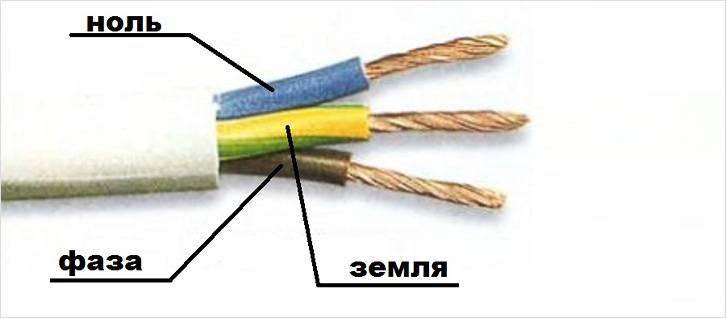 Цвета жил трехжильного кабеля