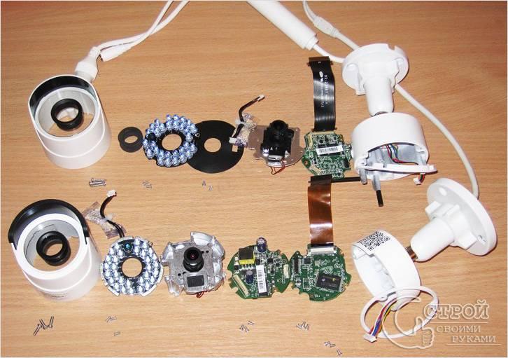 Камеры видеонаблюдения в разобранном виде