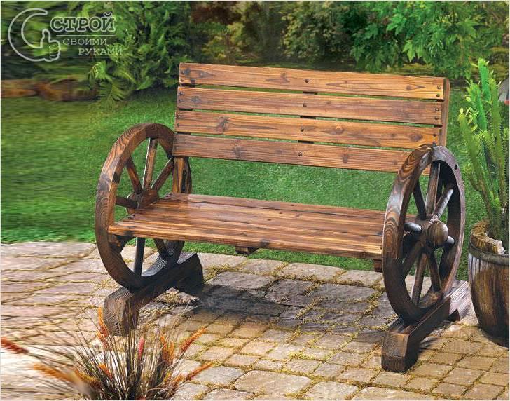 Деревянная скамейка в стиле Рустик