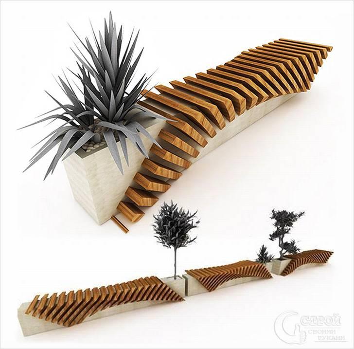 Интересный дизайн скамейки с цветником