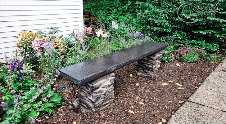 Изготовление каменной садовой скамейки
