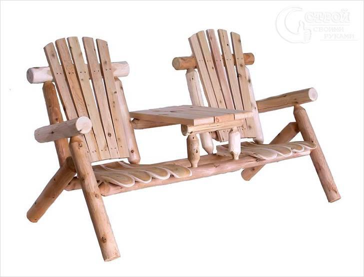 Садовая скамья для двоих со столиком