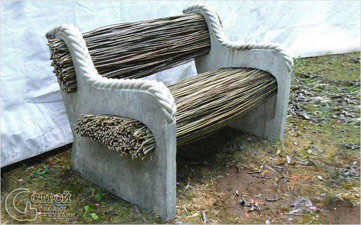 Скамейка из прутьев и бетона