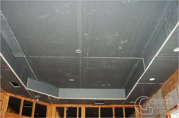 Обшивка двухуровневого потолка
