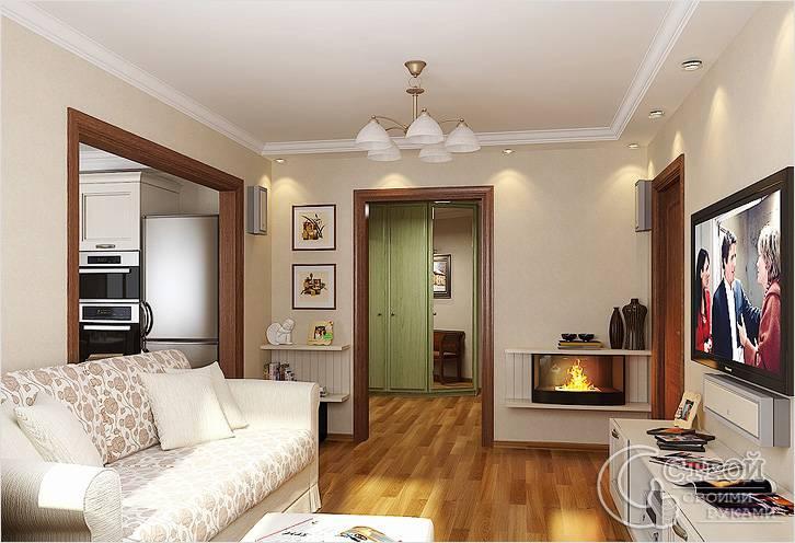 Дизайн зала в хрущевке с двумя дверями