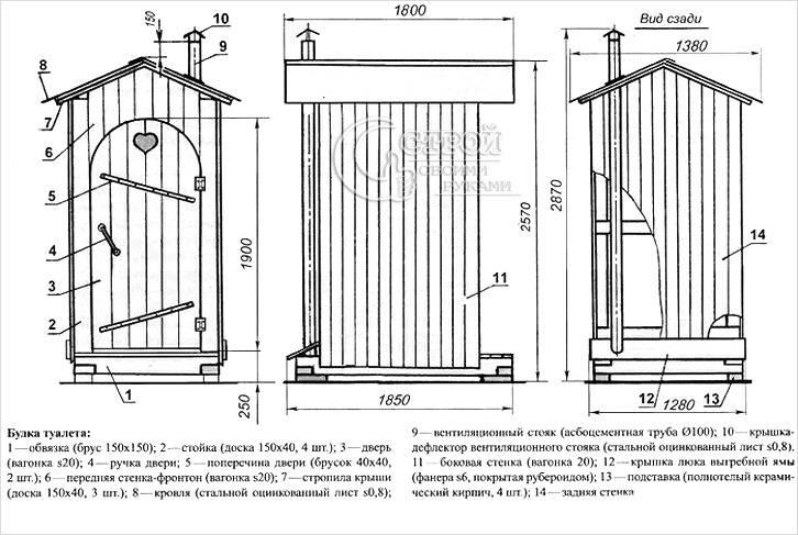 Схема деревянного туалета