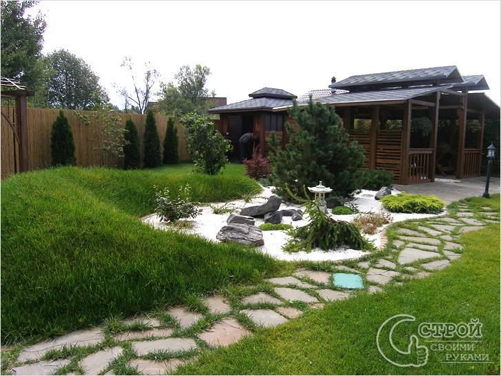 Сочетание кустарников и газона