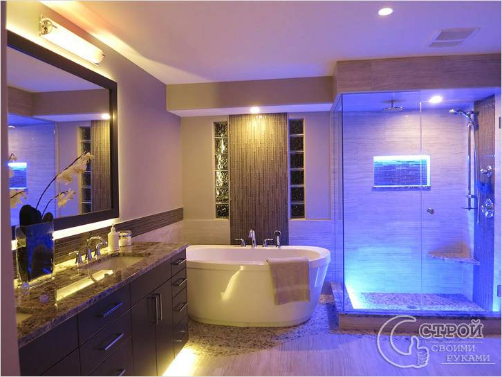 Варианты подсветки ванной комнаты