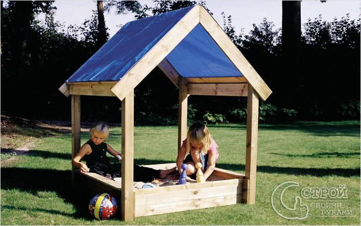 Детский домик с песочницей своими руками видео