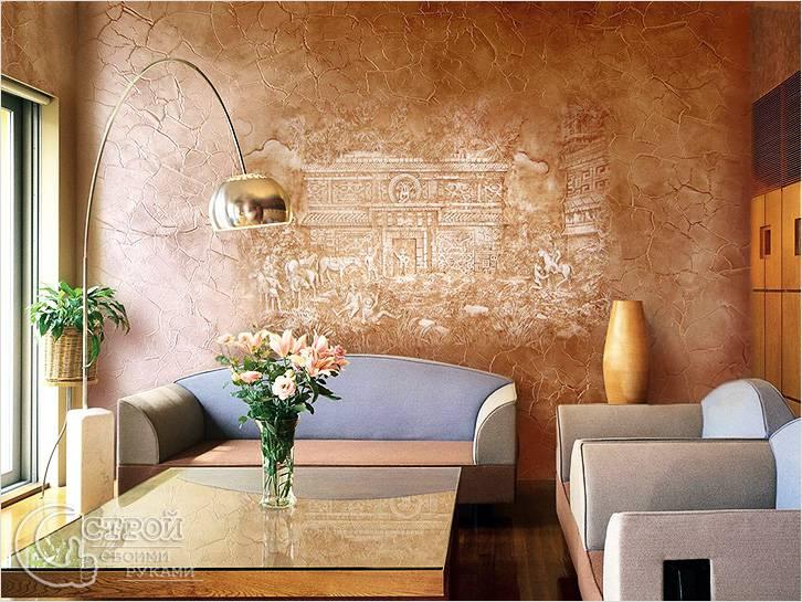 Декоративная штукатурка скрывает небольшие дефекты стен