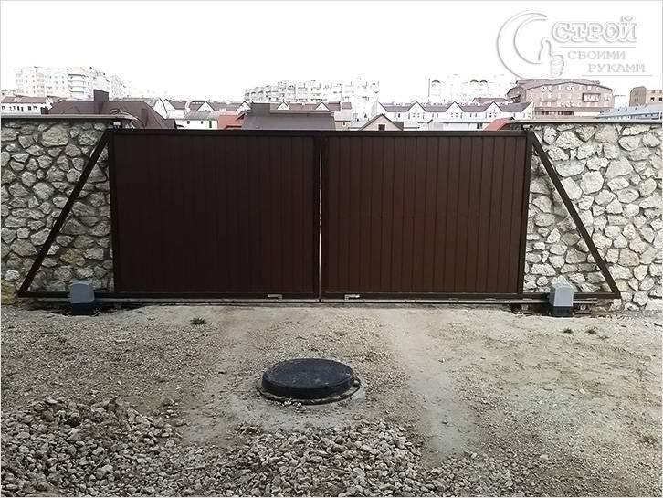 Откатн ворота вдео ворота с электроприводом с калиткой