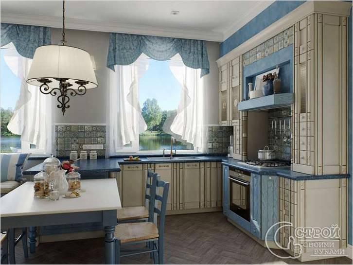 Кухня небесно-голубого цвета в стиле прованс