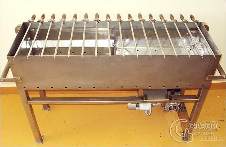 Металлический мангал с электроприводом