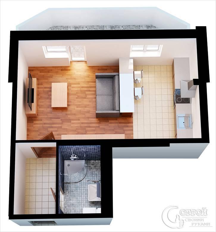Пример расстановки мебели в квартире-студии