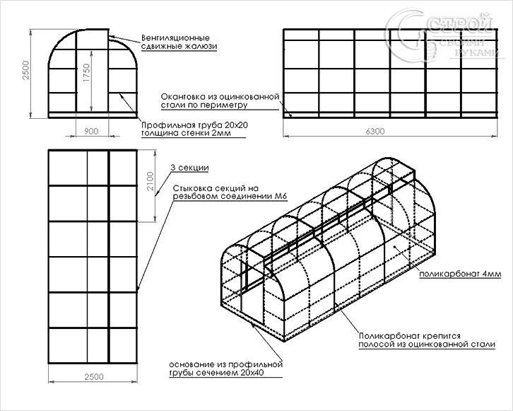 Схема каркаса теплицы из металлопрофиля