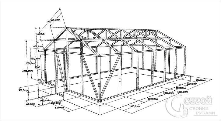 Схема каркаса теплицы с двухскатной крышей