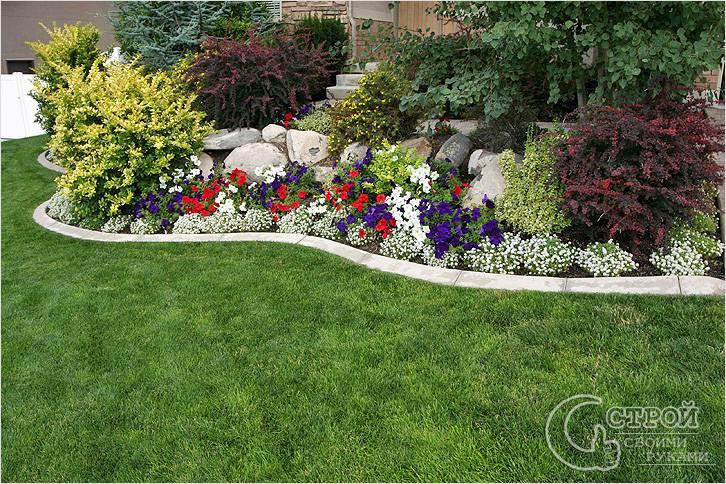 Композиция из цветов, камней, кустарников