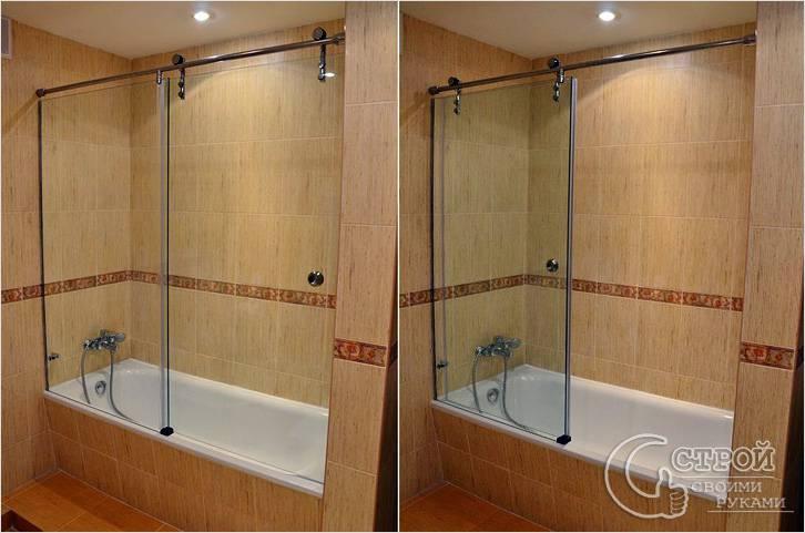 Бескаркасный экран для ванной