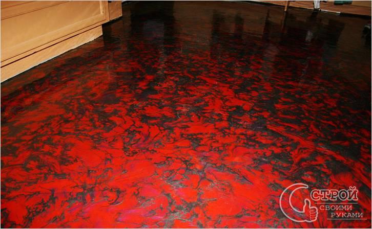 Черно-красный наливной пол