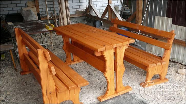 Дачный стол с лавками