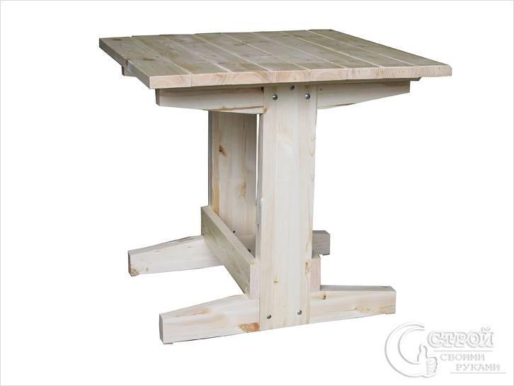 Деревянный стол на двух ножках