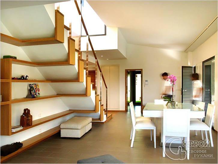 Дизайнерские полки под лестницей