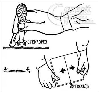 Как резать плитку с помощью стеклореза и гвоздя