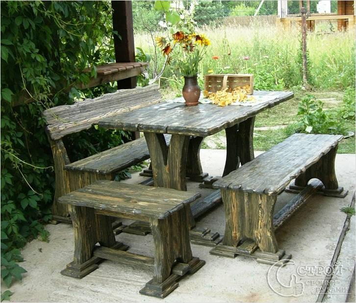 Комплект садовой деревянной мебели