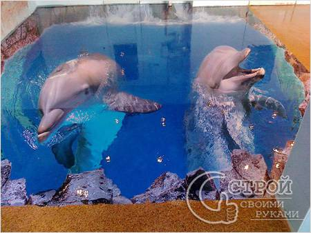 Наливной пол с 3d дельфинами