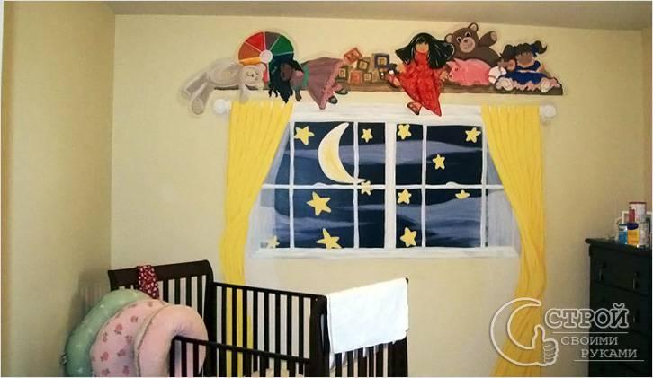 Нарисованное окно в детской