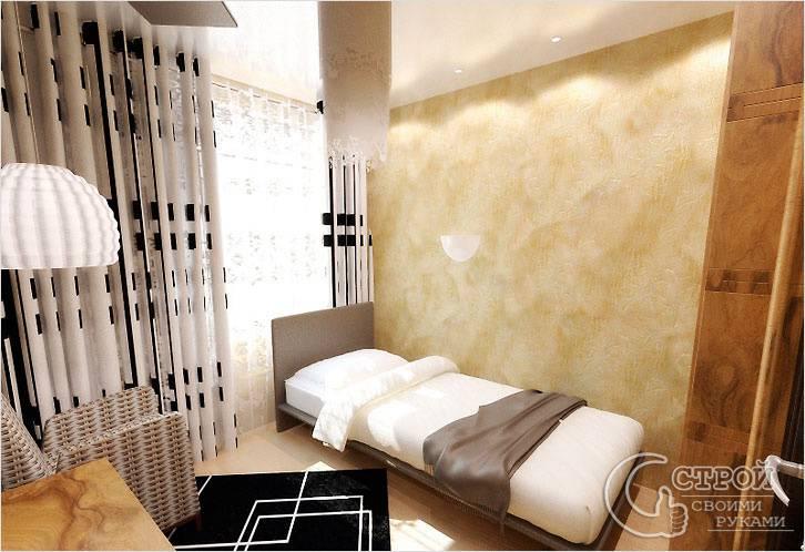 Оформление штукатуркой стен в спальне