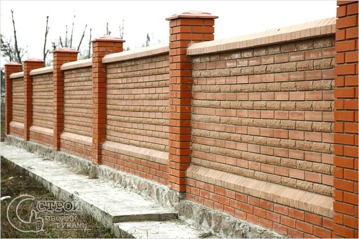 Как сделать забор из красного кирпича