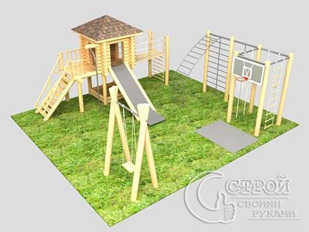 Обустройство детских площадок на даче своими руками 893