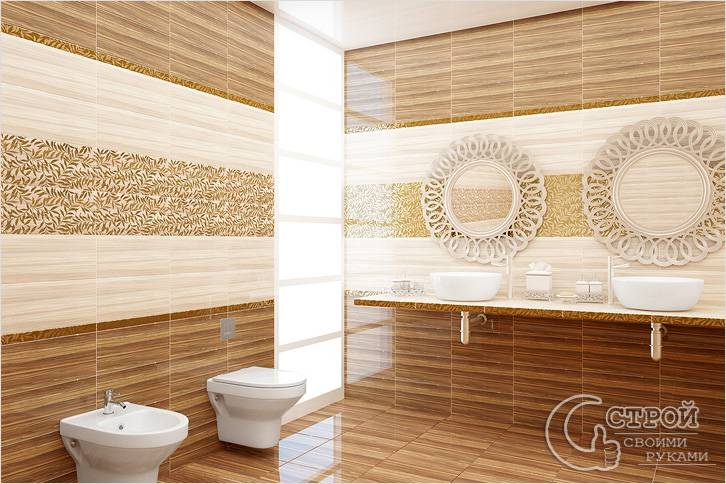 Плиточная отделка стен в ванной