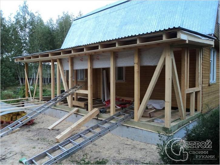 Строительство каркаса веранды