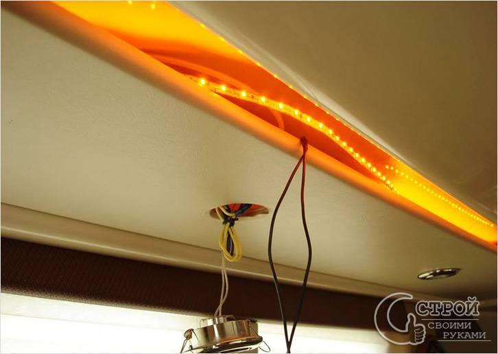 Потолочная подсветка светодиодными лентами своими руками