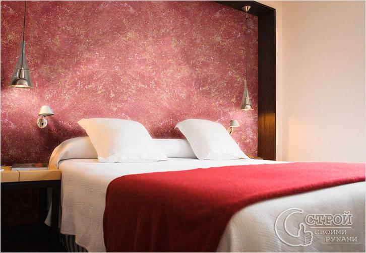Декоративная штукатурка в спальне фото